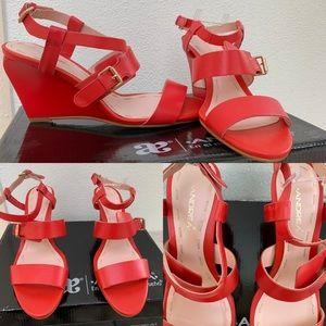 Gorgeous bright Red Orange wedge sandal.